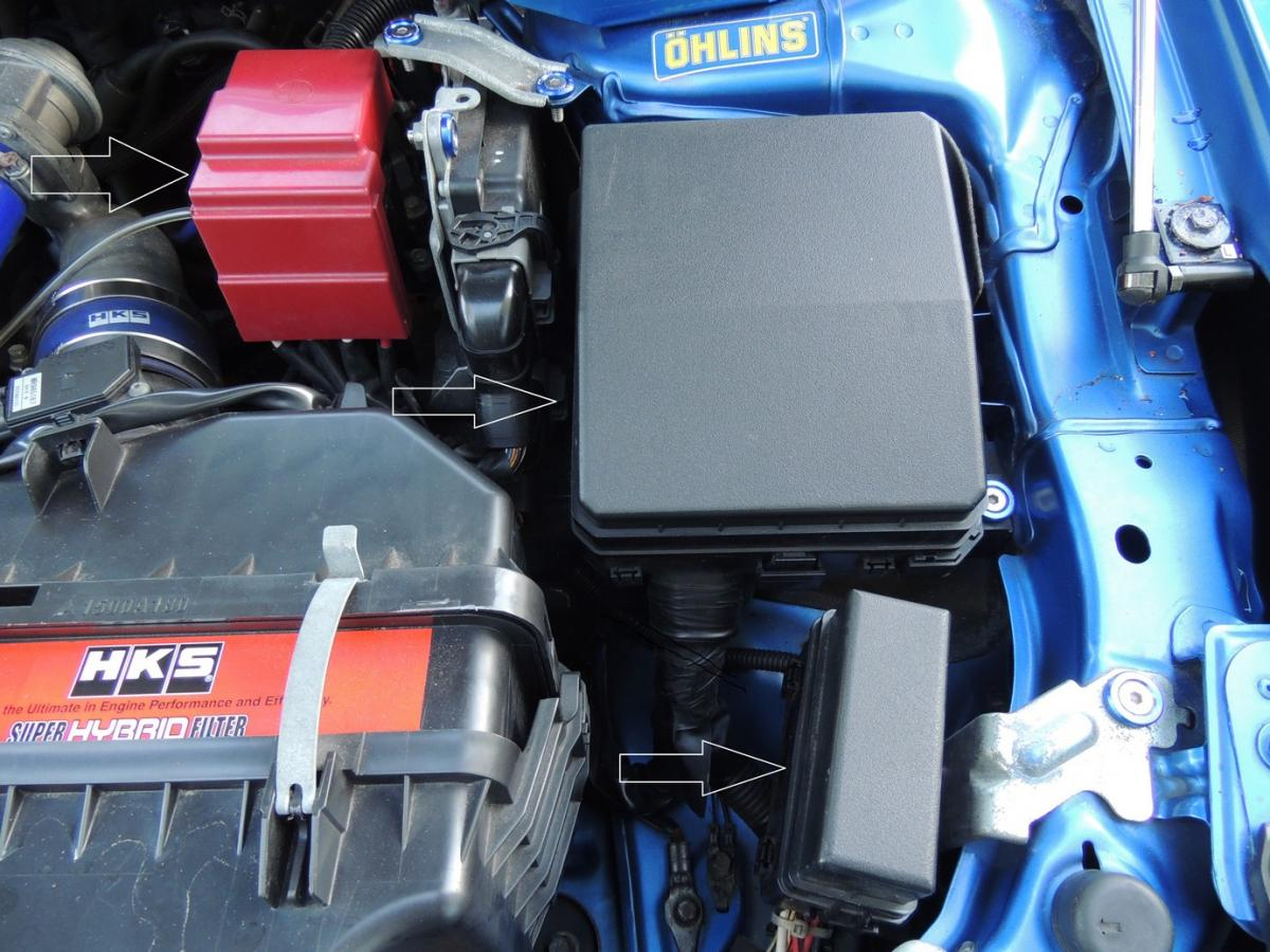 Evo X - standard fuse box covers in OE condition and red positive terminal  cover - Mitsubishi Lancer Register ForumMitsubishi Lancer Register
